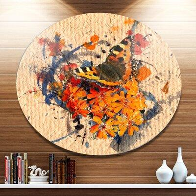 DesignArt 'Butterfly and Abstract Art on Paper' Oil Paint...