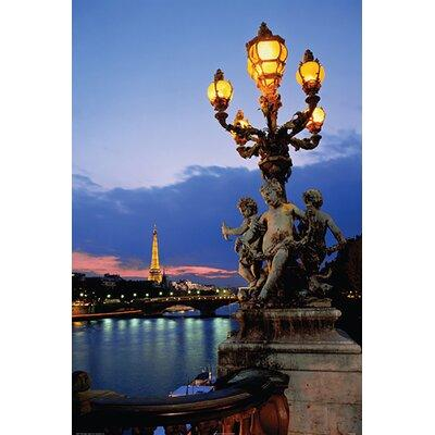 Buy Art For Less 'Paris Bridge with Eiffel Tower in the D...