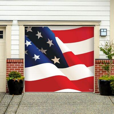The Holiday Aisle American Flag Garage Door Mural THLY543...