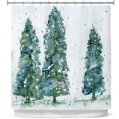 Ebern Designs Celentano Three Snowy Spruce Trees Shower C...