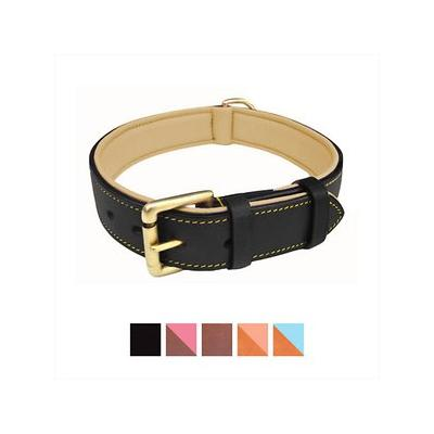 Soft Touch Collars Leather Two-Tone Padded Dog Collar, Bl...