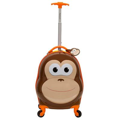 Rockland Jr. Monkey My First Luggage Hardside Carry-On Spinner Luggage, Med Brown
