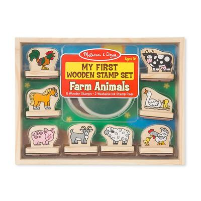 Melissa & Doug My First Wooden Stamp Farm Animals Set, Multicolor