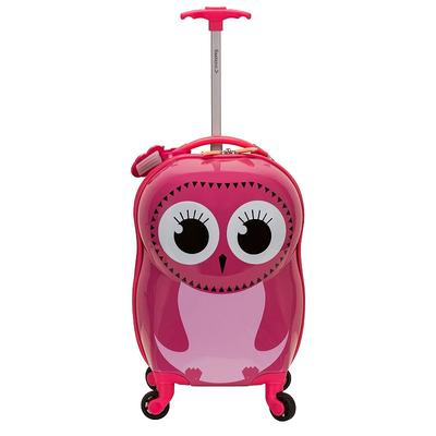 Rockland Jr. Owl My First Luggage Hardside Carry-On Spinner Luggage, Med Pink