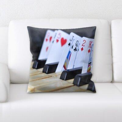 Rug Tycoon Piano with Playing Cards Throw Pillow PW-piano...