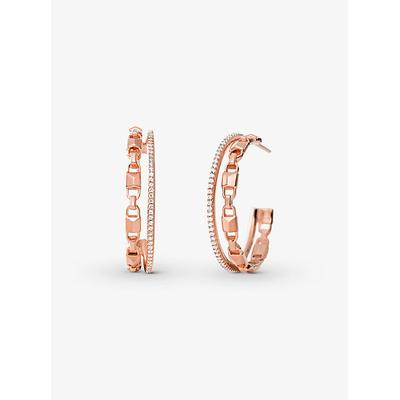 Michael Kors Precious Metal-Plated Sterling Silver Mercer Link Pave Halo Hoops Rose Gold ONE SIZE