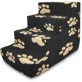 Best Pet Supplies Paw Print Foam Pet Stairs, Black, 4-Step