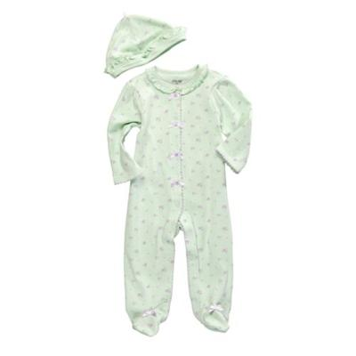 Little Me Light Green Petite Rose Footie with Hat