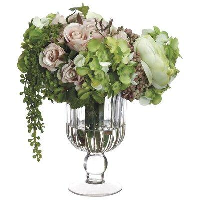 One Allium Way Mix Hydrangea and Rose Centerpiece in Glas...