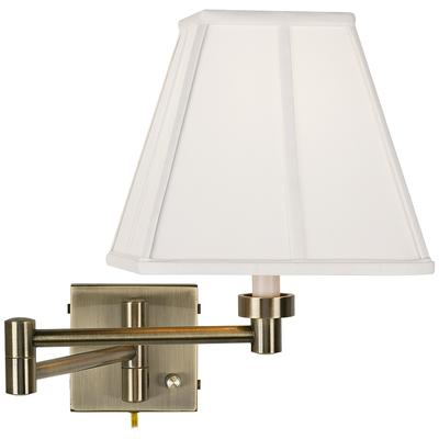 Ivory Square Shade Antique Brass Plug-In Swing Arm Wall Lamp