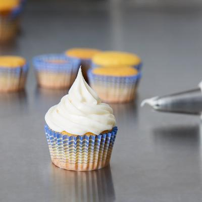 """Ateco 6408 1"""" x 5/8"""" Blue Striped Baking Cups (August Tho..."""