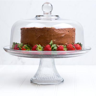 "Anchor Hocking 86475L13 Canton 12"" Glass Cake Stand / Pun..."