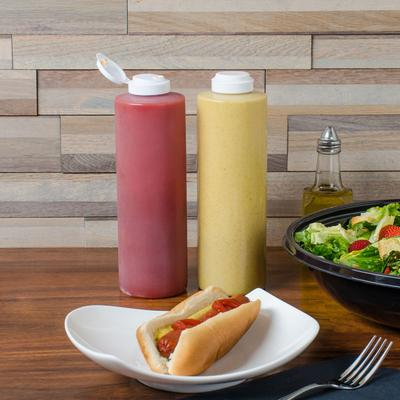 Tablecraft 2124C-1 24 oz. Clear Squeeze Bottle with 38 mm...