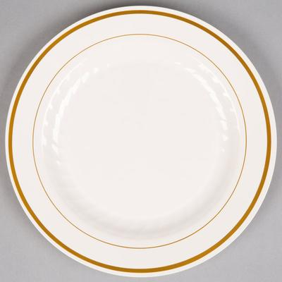 "WNA MP9IPREM 9"" Ivory Masterpiece Plastic Plate with Gold..."