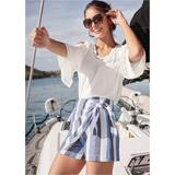 Linen Wrap Front Shorts - Blue/multi