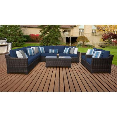 kathy ireland Homes & Gardens River Brook 10 Piece Outdoor Wicker Patio Furniture Set 10a in Midnight - TK Classics River-10A-Navy