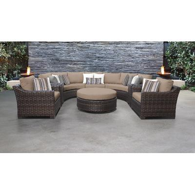 kathy ireland Homes & Gardens River Brook 8 Piece Outdoor Wicker Patio Furniture Set 08h in Toffee - TK Classics River-08H-Wheat