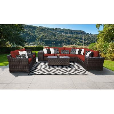 kathy ireland Homes & Gardens River Brook 11 Piece Outdoor Wicker Patio Furniture Set 11c in Cinnamon - TK Classics River-11C-Terracotta