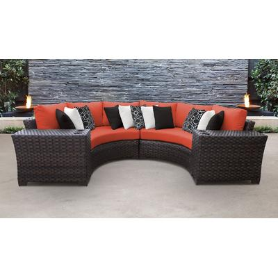 kathy ireland Homes & Gardens River Brook 4 Piece Outdoor Wicker Patio Furniture Set 04a in Persimmon - TK Classics River-04A-Tangerine