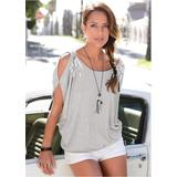 Cold Shoulder Sequin TOP Tops - Grey
