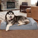 FurHaven Plush & Suede Memory Top Bolster Dog Bed w/Removable Cover, Gray, Jumbo