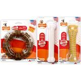 Nylabone Power Chew USA Made Peanut Butter, Chicken & Bacon Flavored Dog Chew Toy, 3 count