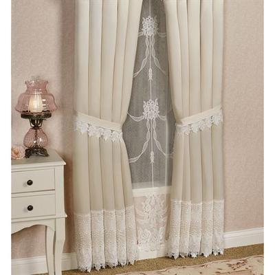 Trousseau Lace Tailored Curtain Pair, 112 x 95, Ivory