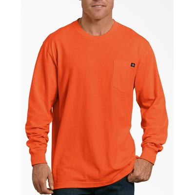 Dickies Men's Long Sleeve Heavyweight Neon Crew Neck T-Shirt - Bright Orange Size 3 (WL450N)