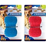 Nerf Dog Feeder Tire Dog Toy, Blue/Red, 2 count