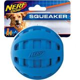 Nerf Dog Squeaker Checker Ball Dog Toy, 4-in, Blue