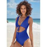Textured Keyhole One-Piece One-Piece Swimsuits & Monokinis - Blue