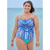 Bandeau Tankini Set Tankini Tops - Multi/Grey/White/Blue