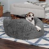 FurHaven Plush Ball Pillow Dog Bed w/Removable Cover, Gray Mist, Large