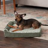 FurHaven Two-Tone Deluxe Chaise Orthopedic Dog Bed w/Removable Cover, Dark Sage, Small