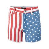 Plus Size American Flag Denim Shorts - RED