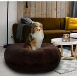 Bessie + Barnie Signature Extra Plush Faux Fur Shags Bagel Dog & Cat Bed, Grizzly Bear, Small