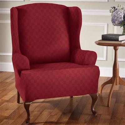 Newport Stretch Slipcover Wing Chair, Wing Chair, Chocolate
