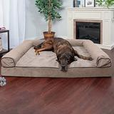 FurHaven Faux Fleece & Chenille Memory Top Sofa Dog Bed, Cream, Jumbo Plus