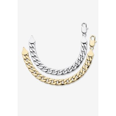 """PalmBeach Jewelry 2 Piece Gold Tone and Silvertone 9"""" Curb-Link Bracelet in Gold (Size 0) Men's Big & Tall"""