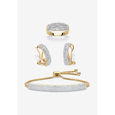 """18K Gold-Plated Diamond Accent Demi Hoop Earrings, Ring and Adjustable Bolo Bracelet Set 9"""", Size 7 by PalmBeach Jewelry"""
