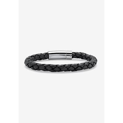 PalmBeach Jewelry Leather Bracelet in Black (Size 0) Leather/Stainless Steel Men's Big & Tall