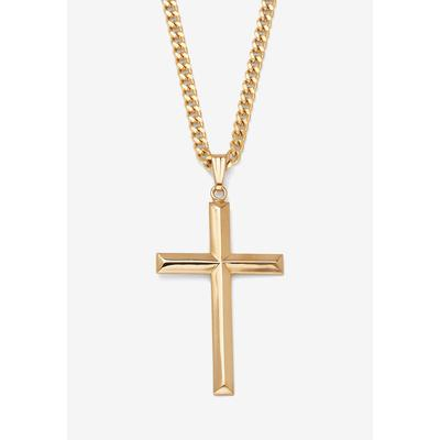 """Men's Big & Tall PalmBeach Jewelry Filled Cross Pendant with 24"""" Chain in Gold"""