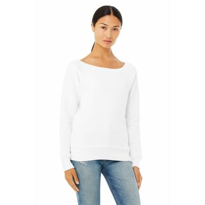 Bella + Canvas 7501 Women's Sponge Fleece Wide Neck Sweatshirt in Solid White Triblend size Small