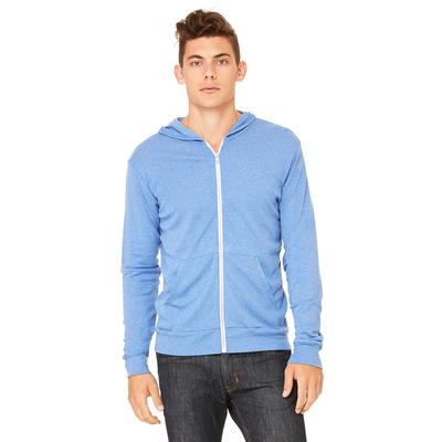 Bella + Canvas 3939 Triblend Full-Zip Lightweight Hoodie in Blue size XL