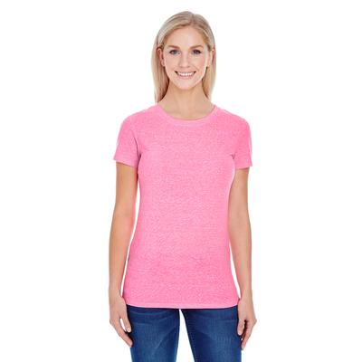 Threadfast Apparel 202A Women's Triblend Short-Sleeve T-Shirt in Neon Pink size Large