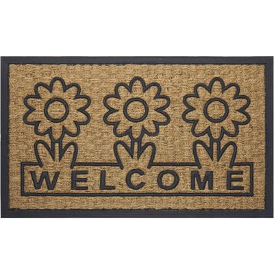 """Coco Mat Daisy, Size 18"""" x 30"""" in Brown/Flower by Achim Home Décor"""