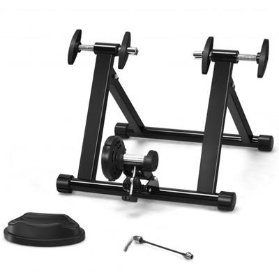 This indoor steel bicycle stand is made of solid steel and adopts pyramid structure design to ensure its stability. Nylon material can effectively protect the floor and increase the friction of the bicycle training frame so that it does not shake at will.