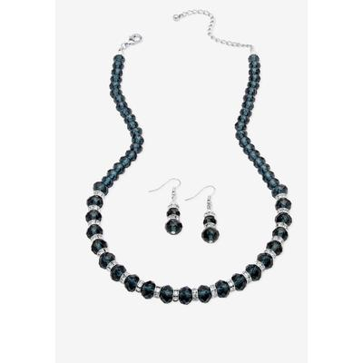 "PalmBeach Jewelry Silver Tone Graduated Necklace & Earring Set Simulated 18"" plus 2"" ext (September)"