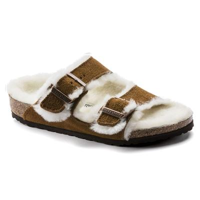 BIRKENSTOCK Kids Arizona Shearling Suede Leather Mink Two-Strap Sandals