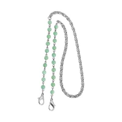 1928 Jewelry Green Silver Tone Chain Green Bead Mask Holder